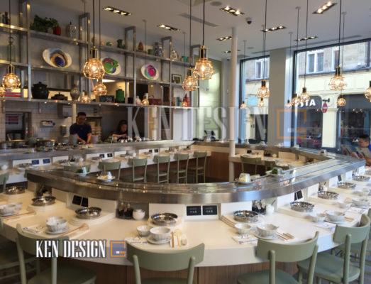 thiet ke nha hang lau bang chuyen 23 523x400 - Thiết kế nhà hàng lẩu băng chuyền phong cách mới lạ