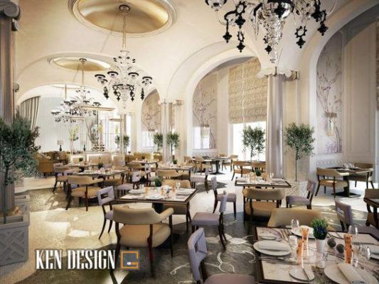 Thiết kế nội thất nhà hàng tiệc cưới tân cổ điển