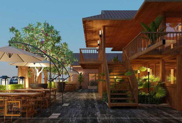 Thiết kế nhà hàng phong cách đẹp 8b 593x400 - Thiết kế ngoại thất nhà hàng buffet Sóc Sơn