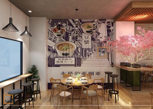 thiet ke nha hang my cay1 - Thiết kế nâng cấp chuỗi nhà hàng mỳ cay GoChu cơ sở Tân Quý
