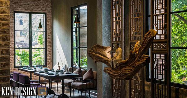 thiet ke nha hang chay su dung chatlieu go 1 - Thiết kế nhà hàng chay sử dụng chất liệu gỗ