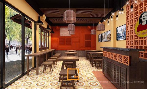 thiet ke nha hang pho suong 11 - Ngắm Hà Thành xưa qua thiết kế nhà hàng phở Sướng