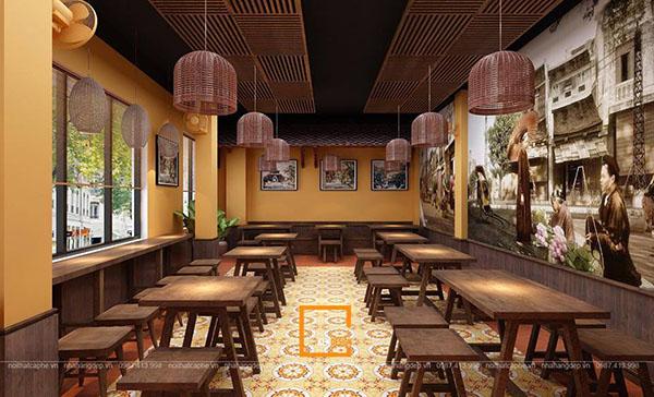 thiet ke nha hang pho suong 9 - Ngắm Hà Thành xưa qua thiết kế nhà hàng phở Sướng