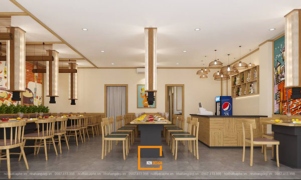 thiet ke nha hang lau nuong khong khoi bbq queen thu hut tai nam dinh 8 - Thiết kế nhà hàng lẩu nướng không khói Queen BBQ thu hút tại Nam Định