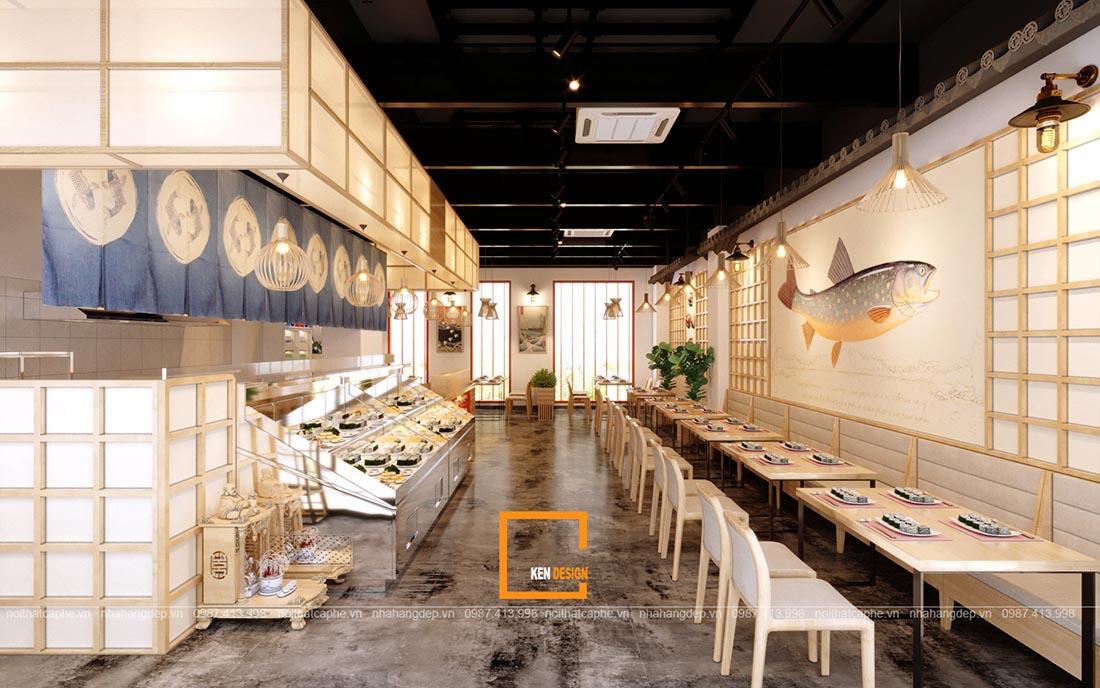 thiet ke nha hang sushi phong cach nhat ban 1 - Thiết kế nhà hàng Sushi phong cách Nhật Bản