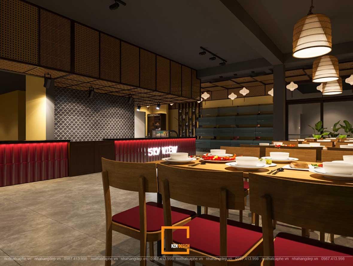 doc la voi noi that a au dan xen trong thiet ke nha hang sky view 2 - Sky View tại Quảng Ngãi - Độc lạ với nội thất Á- Âu đan xen trong thiết kế nhà hàng