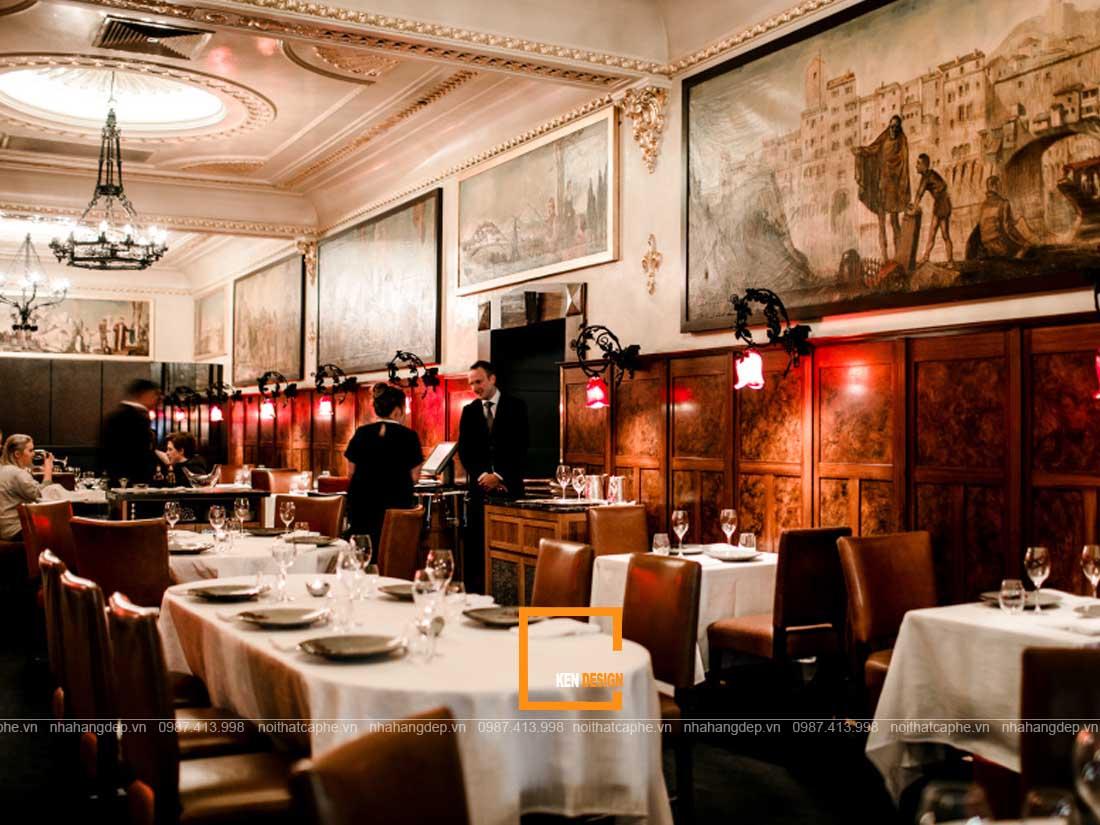 diem dac trung trong thiet ke nha hang phong cach co dien 3 - Điểm đặc trưng trong thiết kế nhà hàng phong cách cổ điển