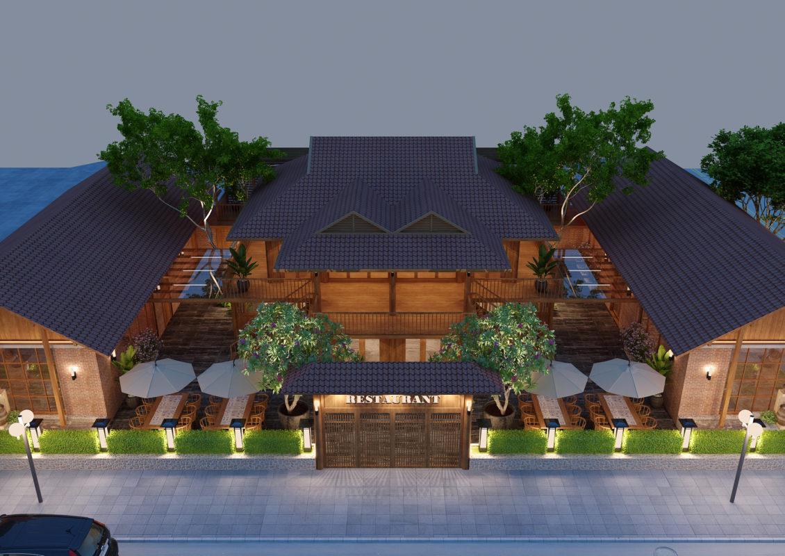 CHI HUYEN View04 1130x800 - Thiết kế ngoại thất nhà hàng buffet Sóc Sơn