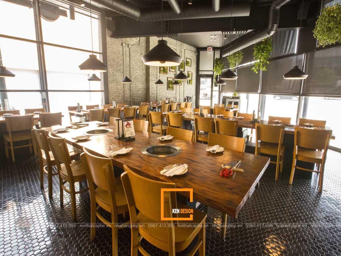 Sử dụng chất liệu gõ trong thiết kế nhà hàng Hàn Quốc