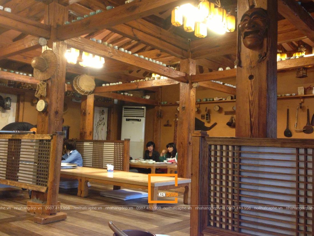Nét văn hóa đặc trưng được đưa vào thiết kế nhà hàng Hàn Quốc