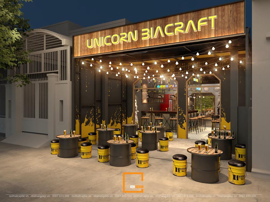 moi me va pha cach voi thiet ke quan bia unicorn biacrafe tai dong nai 3 - Mới mẻ và phá cách với thiết kế quán bia UNICORN BIACRAFT tại Đồng Nai