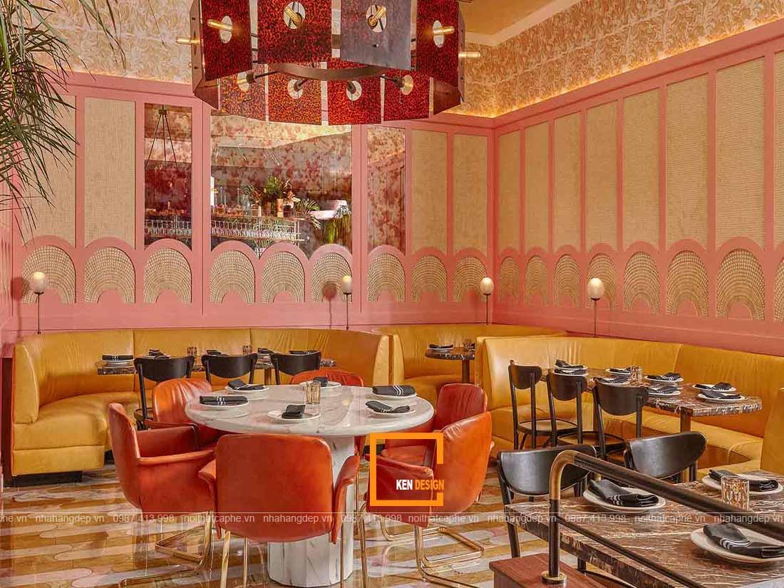 Kết hợp màu sắc hài hòa trong thiết kế nhà hàng phong cách Retro