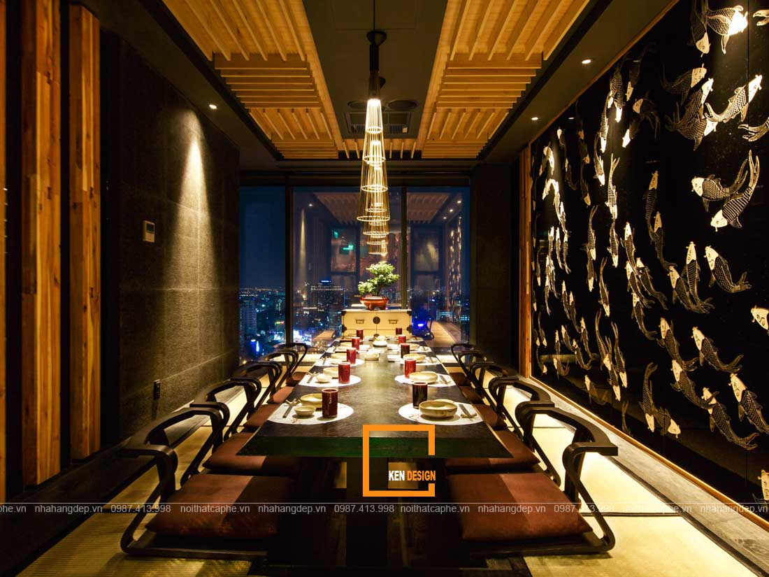 Không gian thu hút của phòng vip thiết kế nhà hàng kiểu Nhật