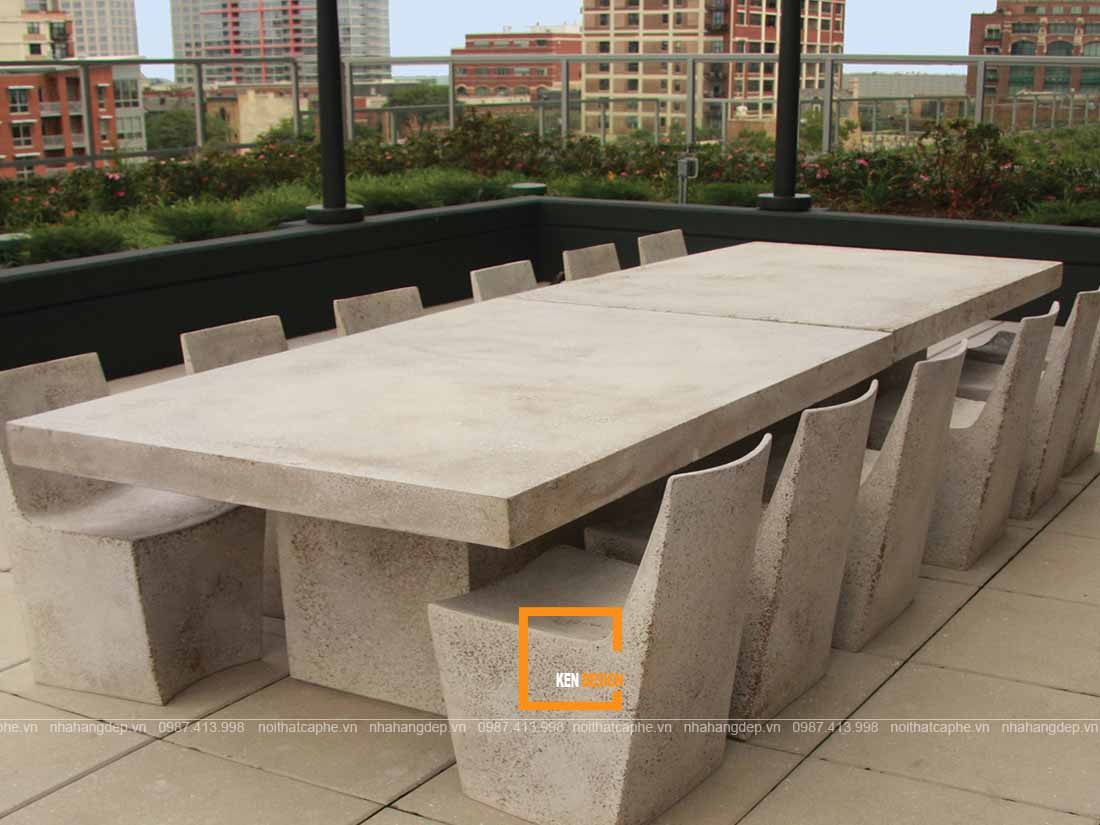 Bàn ghế nhà hàng chất liệu bê tông nhẹ độc đáo
