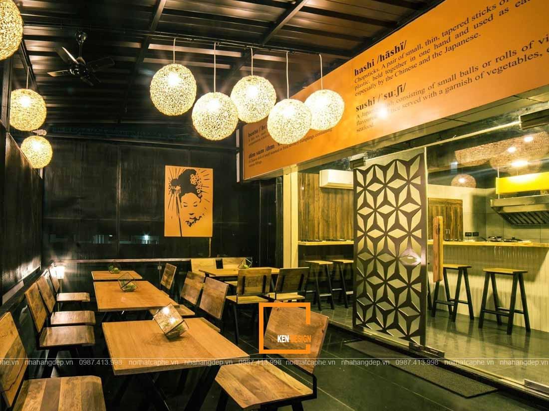 Đèn thả trần trong thiết kế nhà hàng Nhật Bản