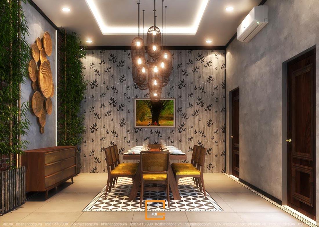 Không gian nhà hàng Ao Quê