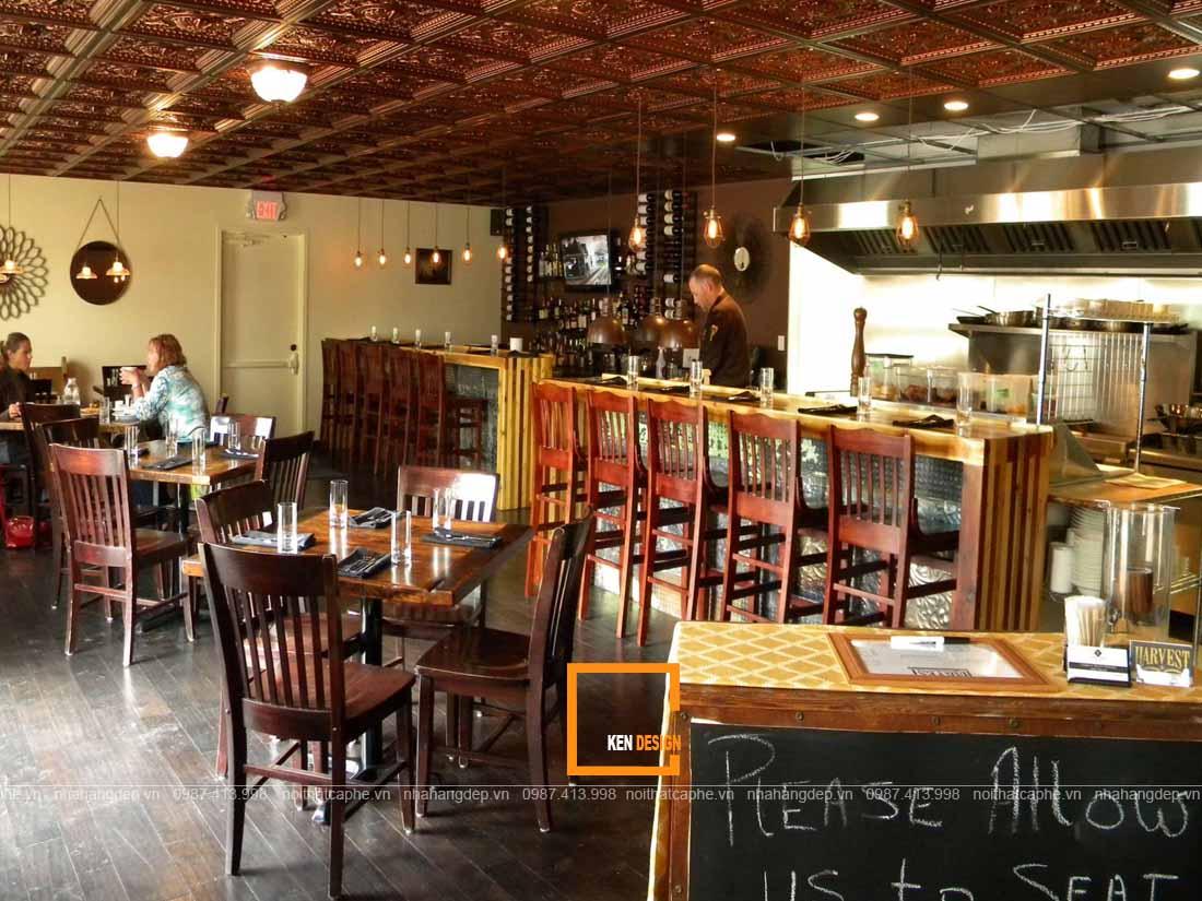 Bàn ghế gỗ trong thiết kế nhà hàng đẹp