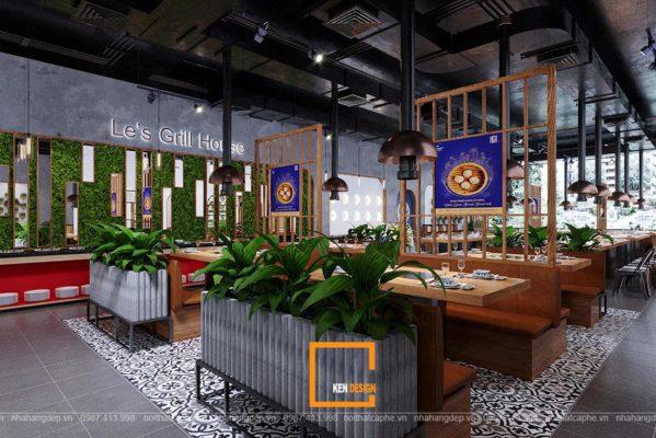 thiet ke nha hang lau nuong 21 599x400 - Đón đông với thiết kế nhà hàng lẩu nướng Le's Grill House tại Việt Trì