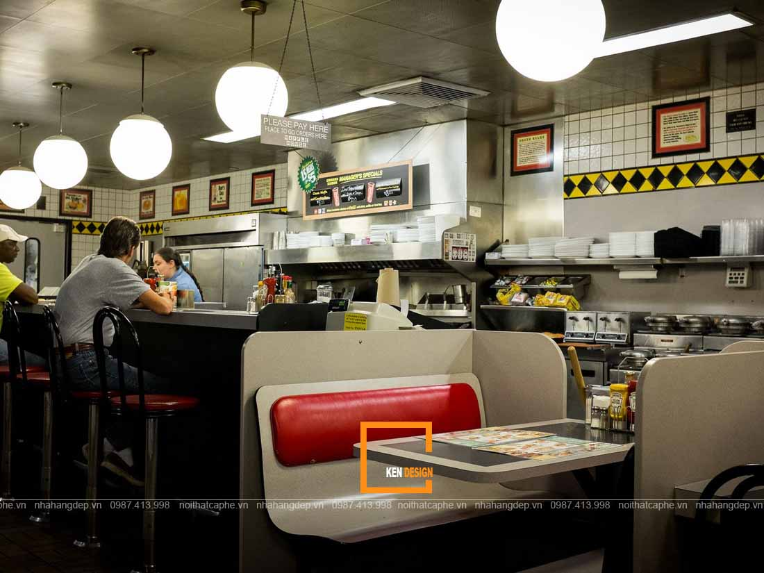 Ánh sáng trong thiết kế nhà hàng ăn nhanh buổi tối