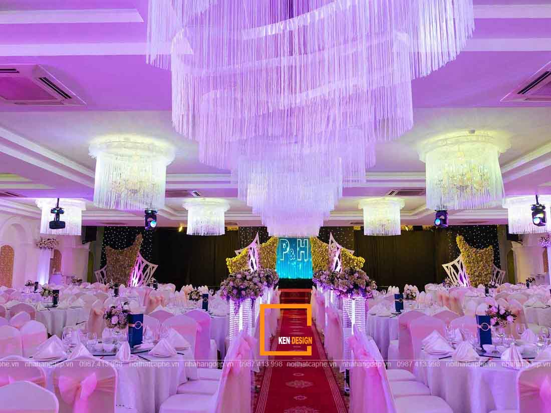 Mẫu thiết kế nhà hàng tiệc cưới sang trọng hiện đại
