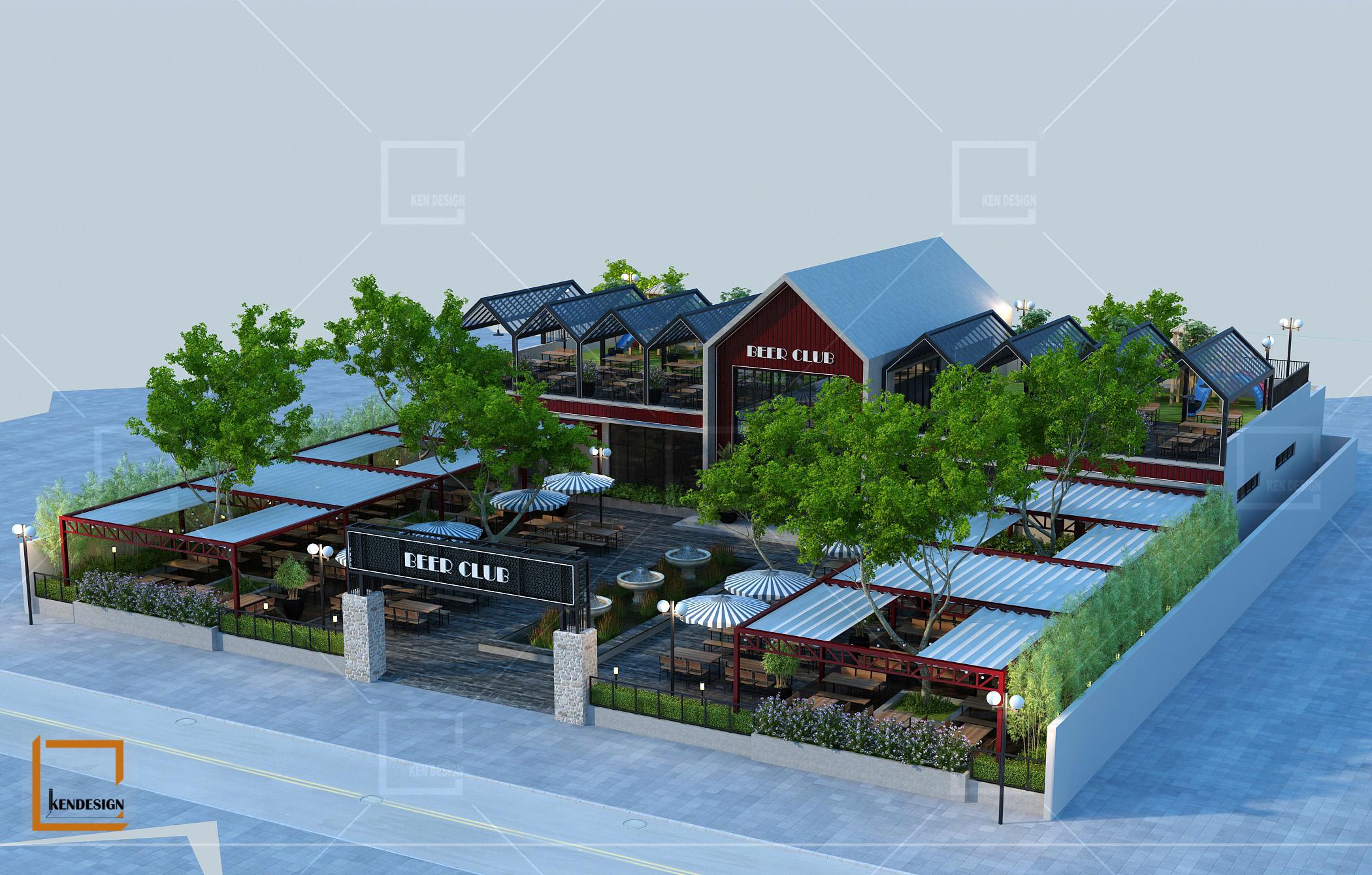 Mẫu thiết kế nhà hàng khung thép Beer Ngon