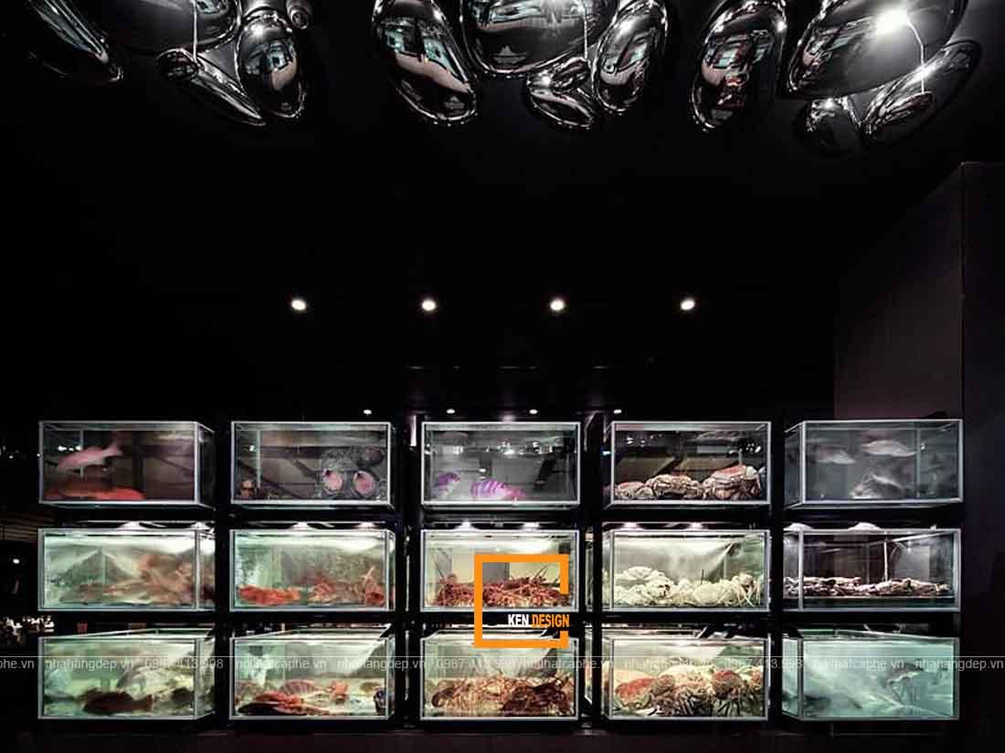 Bể chứa trong thiết kế nhà hàng hải sản