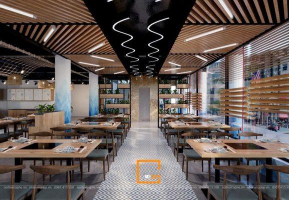 mau thiet ke nha hang lau ket hop buffet hai san doc dao 4 577x400 - Mẫu thiết kế nhà hàng lẩu kết hợp buffet hải sản độc đáo