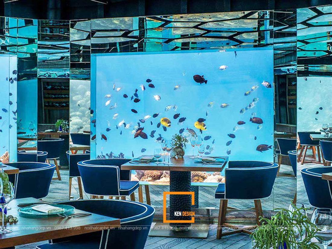 thiết kế nhà hàng hải sản tone xanh dương