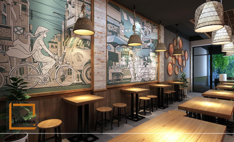 mau nha hang phong cach tho moc bun dau phat loc 6 - Mẫu nhà hàng thô mộc của KenDesign có gì?